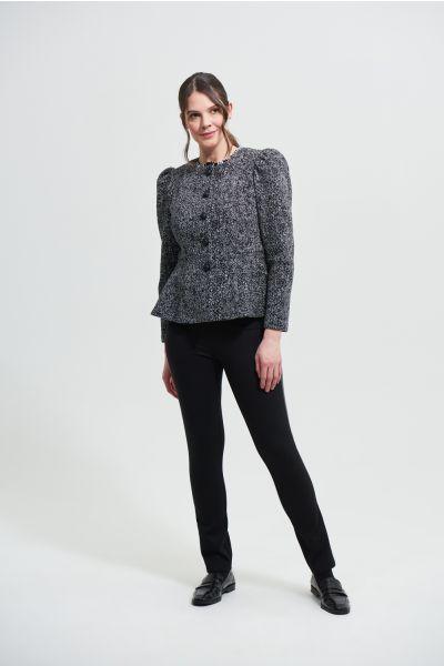 Joseph Ribkoff Black Faux Leather Accent Pants Style 213652