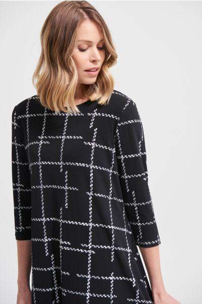 Joseph Ribkoff Black/Vanilla Check Print Dress  Style 213581