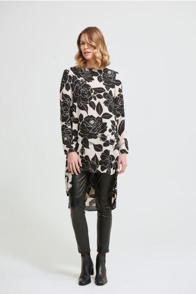 Joseph Ribkoff Black/Beige Floral Top Style 213586