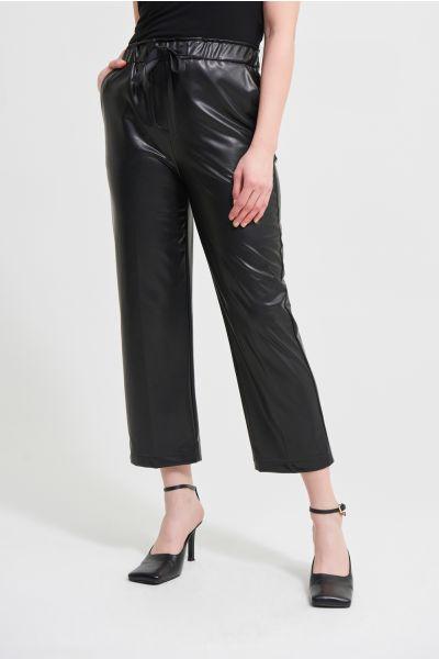 Joseph Ribkoff Black Leatherette Wide Leg Pants Style 213587