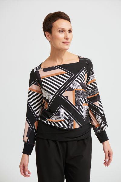 Joseph Ribkoff Black/Multi Geometric Top Style 213596