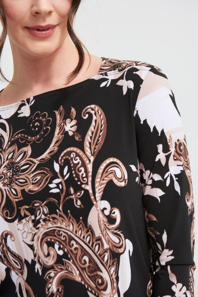 Joseph Ribkoff Black/Sand Paisley Print Top Style 213597