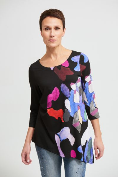 Joseph Ribkoff Black/Multi Asymmetric Knit Top Style 213599