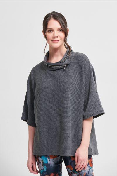 Joseph Ribkoff Grey Melange/Black Hooded Top Style 213621