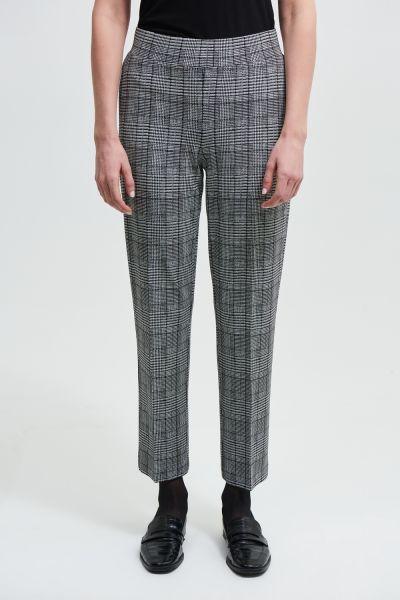 Joseph Ribkoff Black/White Plaid Straight Leg Pants Style 213626