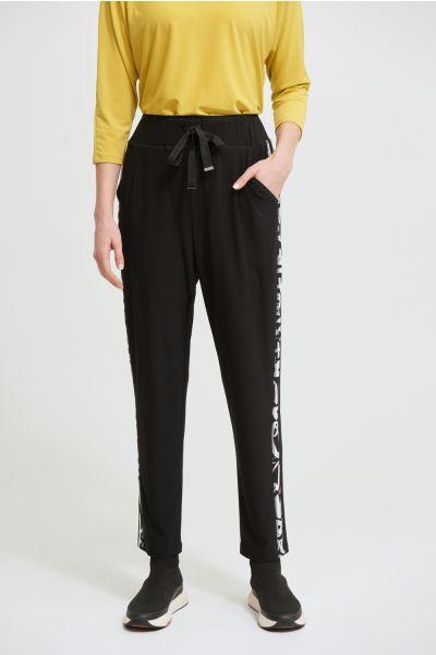 Joseph Ribkoff Black/Vanilla Graffiti Stripe Pants Style 213627