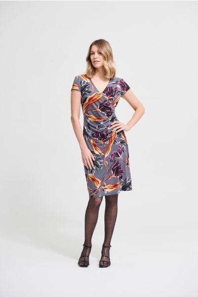 Joseph Ribkoff Granite/Black Floral Abstract Dress  Style 213634