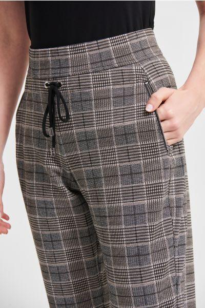 Joseph Ribkoff Black/Multi Plaid Jacquard Pants Style 213649