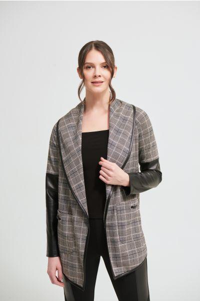 Joseph Ribkoff Black/Multi Plaid Cardigan Style 213656