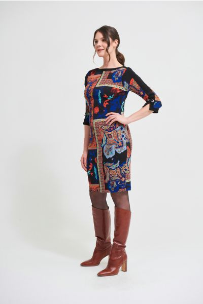 Joseph Ribkoff Black/Multi Mixed Paisley Print Dress Style 213658