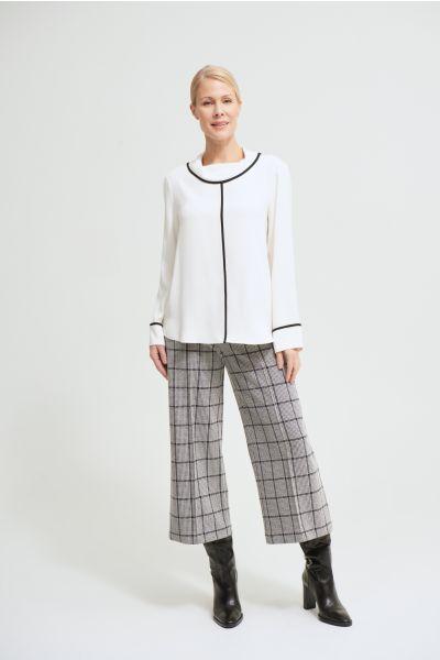 Joseph Ribkoff Vanilla/Black Contrast Piping Blouse Style 213659