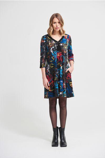 Joseph Ribkoff Black/Multi A-Line Dress Style 213677