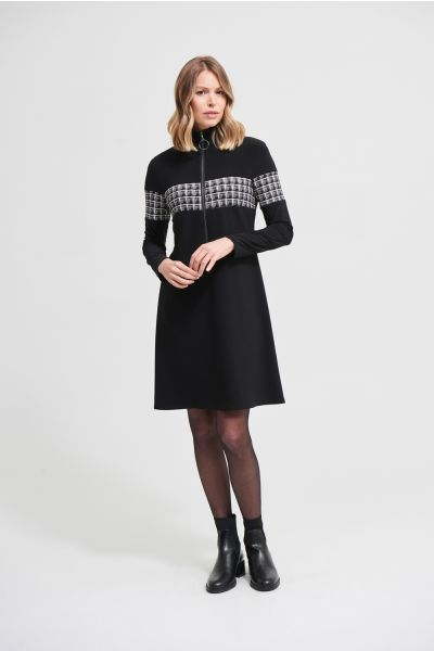 Joseph Ribkoff Black/White Zip Accent Midi Dress Style 213681