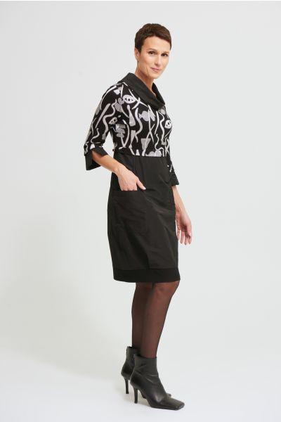 Joseph Ribkoff Black/Ecru Dress Style 213682