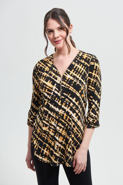 Joseph Ribkoff Black/Multi Striped Sequin Top Style 213686