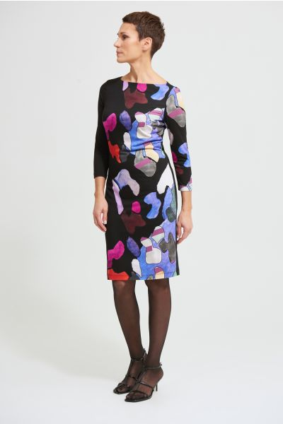Joseph Ribkoff Black/Multi Abstract Dress Style 213687
