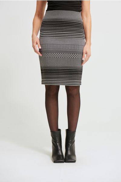 Joseph Ribkoff Silver/Black Striped Pencil Skirt Style 213691