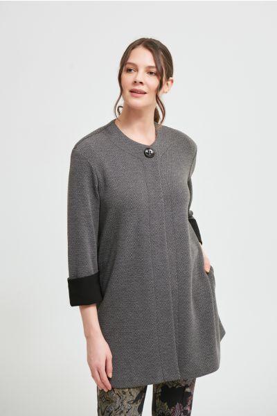 Joseph Ribkoff Grey Melange/Black Jacquard Jacket Style 213692