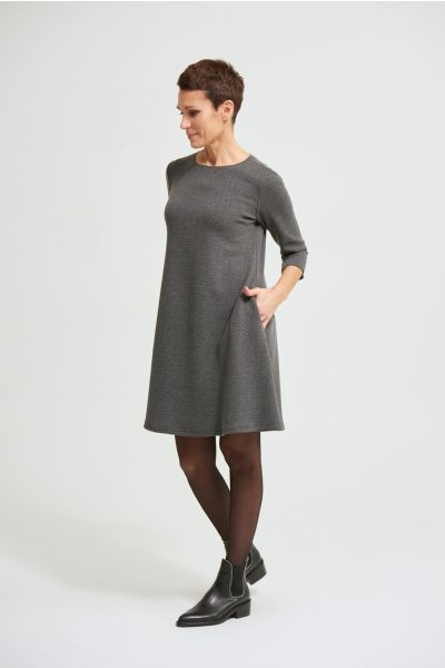 Joseph Ribkoff Grey Melange/Black 3/4 Sleeve A-line Dress Style 213705