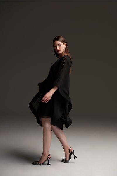 Joseph Ribkoff Black Cape Sleeve Dress Style 213709