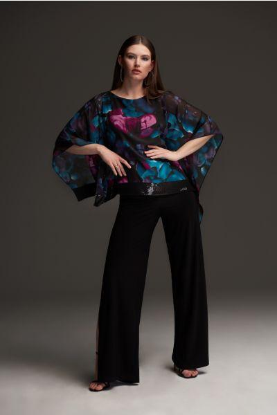 Joseph Ribkoff Black/Multi Floral Print Tunic Style 213716
