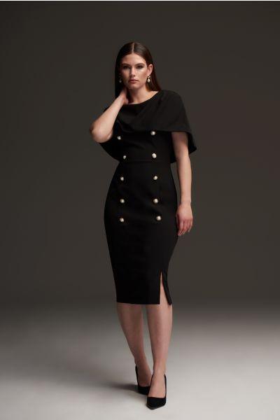 Joseph Ribkoff Black Overlay Double-Breasted Dress Style 213719