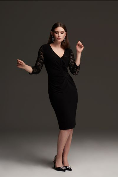 Joseph Ribkoff Black Lace Sleeve Dress Style 213721