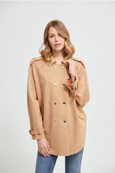 Joseph Ribkoff Camel Faux Suede Jacket Style 213896