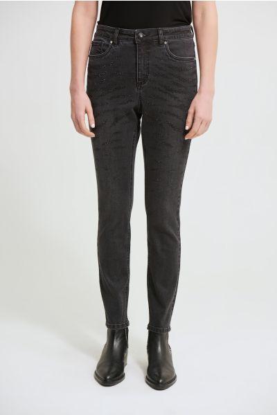 Joseph Ribkoff Charcoal/Dark Grey Dark Wash Jeans Style 213901