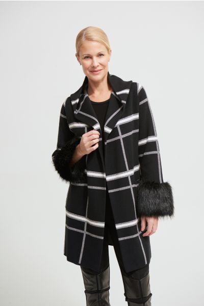 Joseph Ribkoff Black/Vanilla Faux Fur Cuff Coat Style 213904
