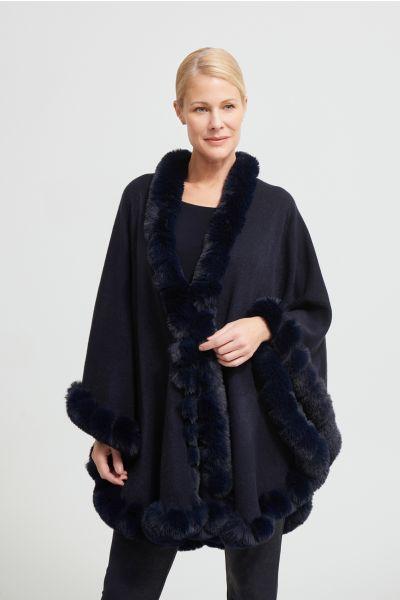 Joseph Ribkoff Midnight Blue Faux Fur Poncho Style 213906