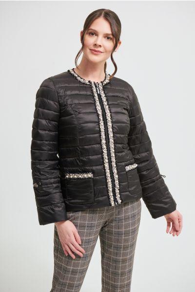 Joseph Ribkoff Black/Vanilla Embellished Puffer Coat Style 213909