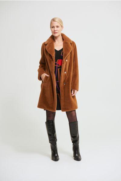 Joseph Ribkoff Rust Faux Fur Coat Style 213910
