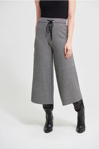 Joseph Ribkoff Black/Vanilla Houndstooth Culotte Pants  Style 213920