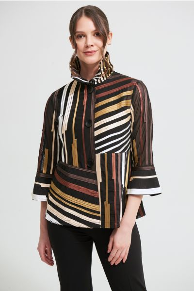 Joseph Ribkoff Black/Multi/Cognac Mesh Blazer Style 213927
