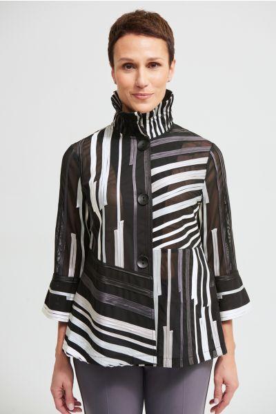 Joseph Ribkoff Black/Multi/Grey Mesh Blazer Style 213927