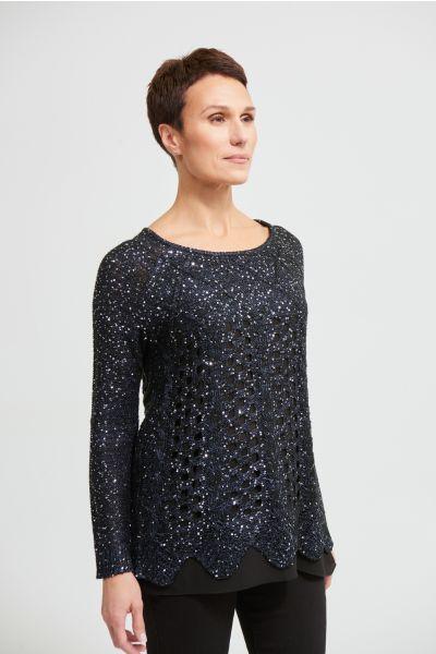 Joseph Ribkoff Midnight Blue/Black Glitter Top Style 213930