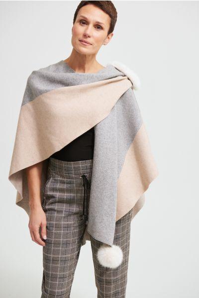Joseph Ribkoff Oatmeal/Grey Faux Fur Cape Sweater Style 213944