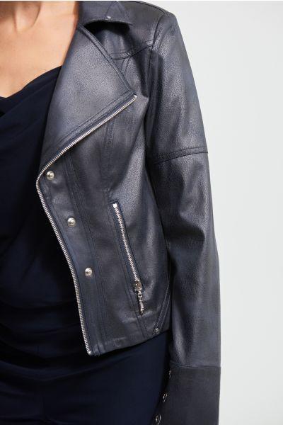 Joseph Ribkoff Ink Faux Leather Jacket Style 213945