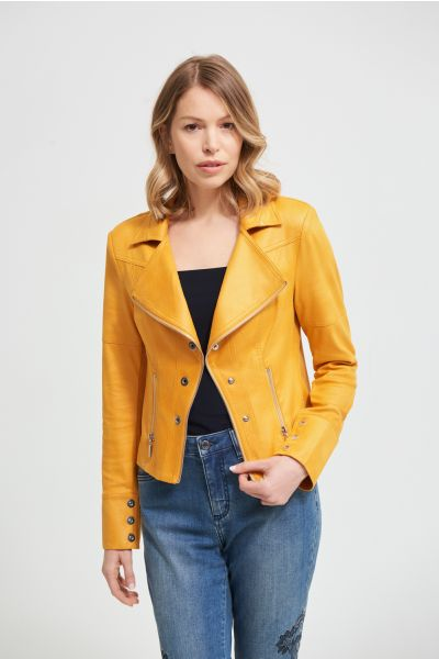 Joseph Ribkoff Marigold Faux Leather Jacket Style 213945