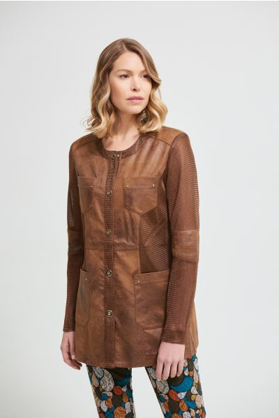 Joseph Ribkoff Mesh Cognac Suede Jacket Style 213946