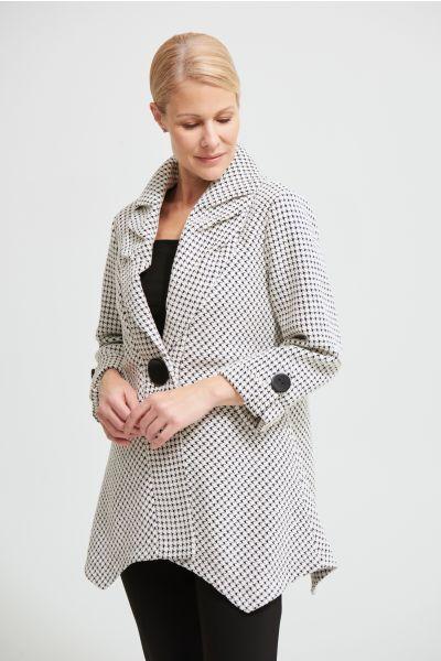 Joseph Ribkoff Black/White Single Button Coat Style 213950
