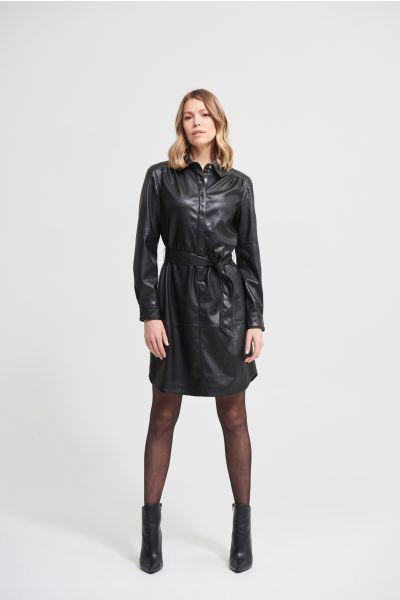 Joseph Ribkoff Black Faux Leather Shirt Dress  Style 213953