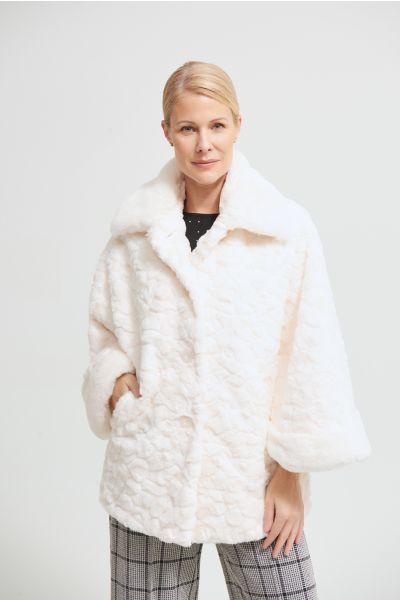 Joseph Ribkoff Faux Fur Cream/Off-White Coat Style 213954