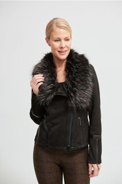 Joseph Ribkoff Black/Grey Faux Fur Collar Jacket Style 213955