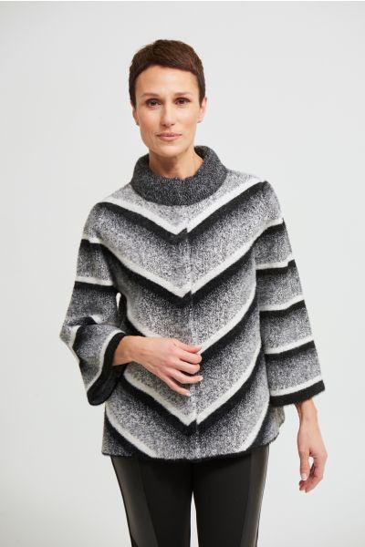 Joseph Ribkoff Black/Grey/Vanilla Striped Jacket Style 213962