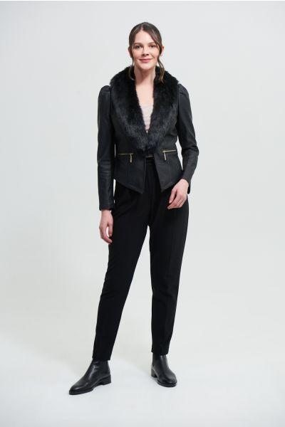 Joseph Ribkoff Black Faux Fur Jacket Style 213963
