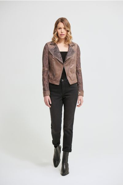 Joseph Ribkoff Taupe Suede & Lace Jacket Style 213964