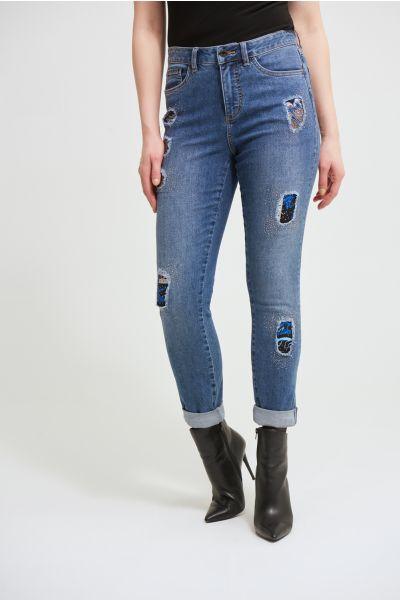Joseph Ribkoff Denim Medium Blue Patchwork Jeans Style 213980