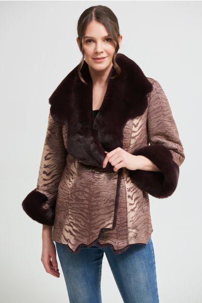 Joseph Ribkoff Plum/Gold Faux Fur Suede Jacket Style 213992
